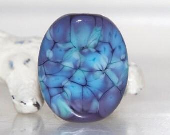 Mottled Blue on Purple Lampwork Glass Focal Bead