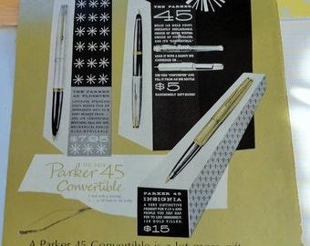 Metallic 1960s Vintage Advertisement for Parker Pen 45 Convertible Solid 14K Gold Pen