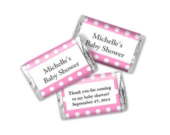 Baby Shower Pink With White Dots  Mini Candy Wrappers - Editable PDF file - Instant Download - Chocolate Bar Favors