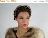Sale, Fox Fur Headband, Norwegian Blue Fox, Diamond Rhinestone, 1940's Headband, Hair Headbands