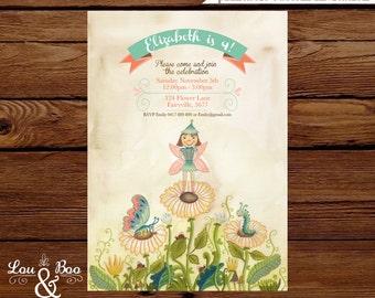 Woodland Flower Fairy Custom birthday printable party invitation