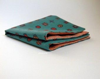 Pocket square - Double sided pocket square - Reversible Handkerchief -  Made in Italy -  Teal green - Faded orange
