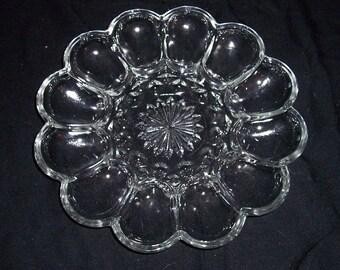 Vintage Anchor Hocking Glass Crystal FAIRFIELD Relish/Deviled Egg Dish/Plate
