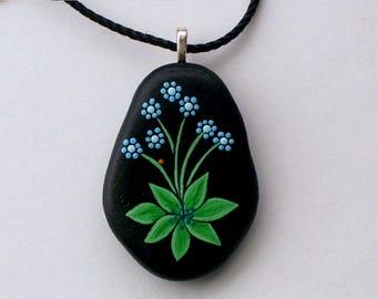 Alzheimers awareness-pendant necklace-blue berries teal turquoise forget me nots hand painted rock OOAK 3D art neon glow in dark