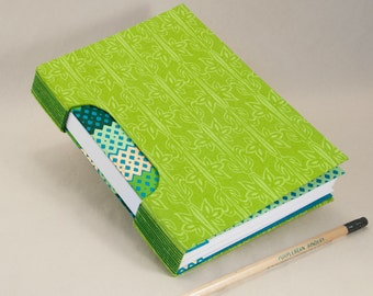 Journal, Notebook, Sketchbook or Guestbook, Unique and Hand-bound in Lime Green Bamboo Patterns