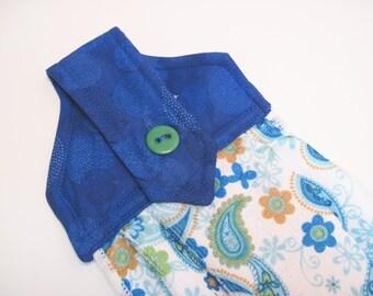 Button top towel Hanging towel  Royal Blue Teal paisley towel
