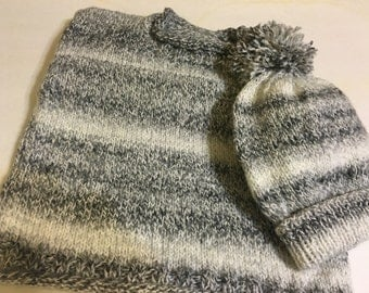 READY TO SHIP      Knit Toddler Roll Neck Pullover and Hat/ Boys/Charcoal/Acrylic Yarn         Size 1 - 2 yrs