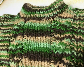 READY TO SHIP       Handmade Knit  Chunky Cable Kids Sweater/Boys/Acrylic/Green, Brown, Ivory     Size 4T