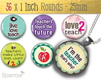 Teacher's Pets One (1x1) Inch or 25 mm Round Pendant Images - Digital Sheet - Buy 2 Get 1 Free - Instant Download - Bottle Cap Images