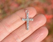 BULK 20 Bright Silver Plated and Rhinestone Cross Charms SC4034