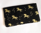 Black and Gold Unicorn Checkbook Cover