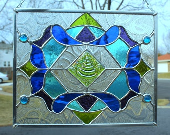 Kiwi Green, Sapphire Blue, Sky Blue and Purple Stained Glass Panel
