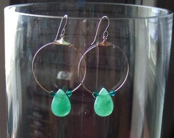 Green Aventurine Teardrop Hoop Earrings Earings with Titanium Ear Wires Made in Newfoundland