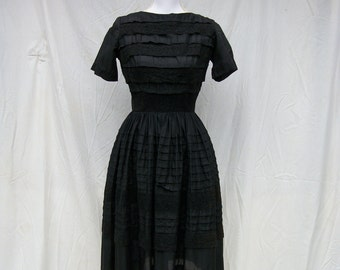 SALE 50s Black Cotton Day Dress size Small Extra Small Dixie Deb Malouf Lace Trim