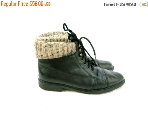 SALE 80s Black Leather Ankle Boots size 8 Sweater Tops Capped Toes