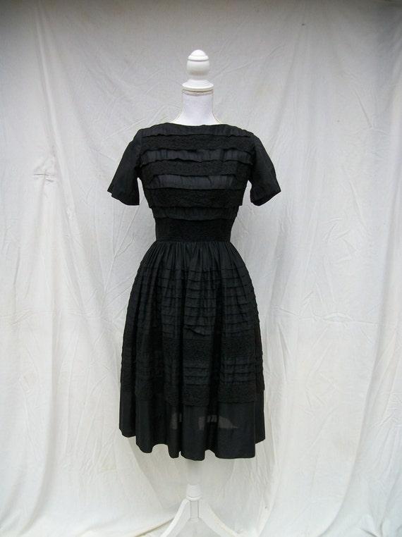 SALE 50s Black Cotton Day Dress size Small Extra Small Dixie Deb Malouf Lace Trim