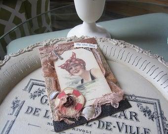 Vintage-style Beach Card - Sea-themed Card - Vintage Beach Lady Card