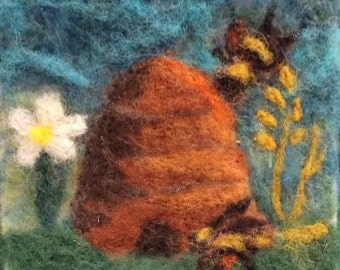 "017 ""Honey Bee""  Thyme Tile Needle Felting Pattern Kit"