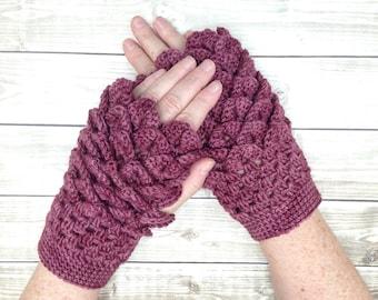 Merino Dragon Scale Fingerless Gloves, Plum Wine Crocodile Stitch Winter Gloves