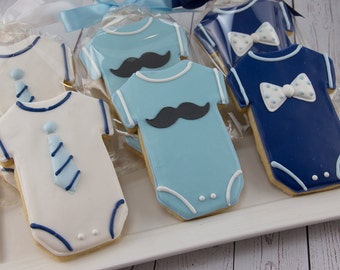 Mustache Cookies, Baby Cookies, Bow tie Cookies, Neck Tie Cookies, Baby Shower Cookies - 36 Decorated Sugar Cookies
