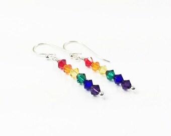 Gay Pride Earrings - LGBTQ Flag Jewelry - Custom Pride Earrings - Coming Out Gift - Lesbian Jewelry - Pride Gift – Sterling Silver Earrings