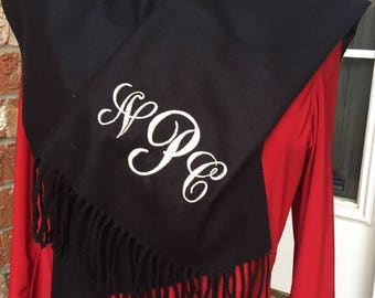 Personalized Monogrammed Custom Cashmere Feel Scarf Houndstooth - FREE MONOGRAM Christmas gift for teachers, family and friends