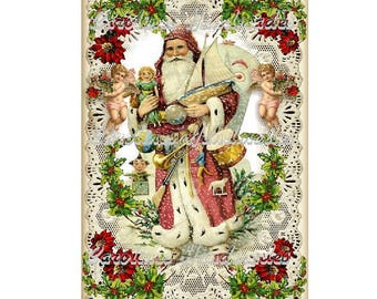 "Vintage Santa & Angels Collage Cotton Fabric Quilt Block (1) @ 5X7"" on 8.5X11"" Sheet"