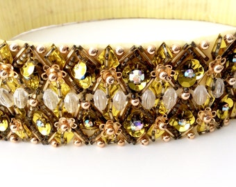Beaded Belt Rhinestones Gold Sequins Formal Evening Size Small