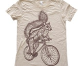 Black Friday SALE Womens SQUIRREL T Shirt on Bicycle Fine Jersey Creme Tee American Apparel
