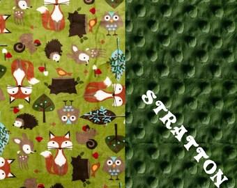 Personalized Baby Blanket boy - Woodland Animal Minky Baby Blanket Boy, Green Foxes Hedgehogs Stroller // Animal Blanket
