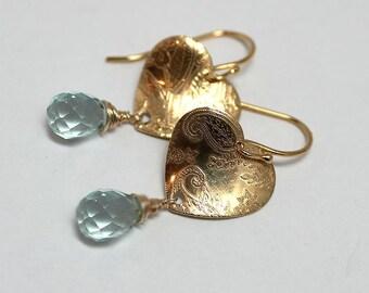 NEW! Gold Vermeil heart Cubic Zirconia earrings,elegant,stylish,exclusive,handmade,great gift,dangle,blue,dangle,romantic - free shipping