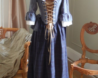 Saved for Hannah Bonnie lass Victorian inspired peasant Plaid dress skirt bodice outlander inspired