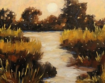 On Sale Twilight on The Marsh, Small Original Oil Painting by Prankearts - Home Decor