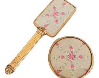 Vintage Hairbrush and Jar Vanity Set Pink Gold
