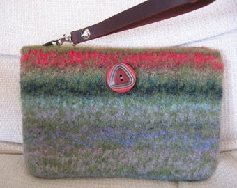 Clutch Wristlet Green Striped Hand Knitted Wool Custom Lined