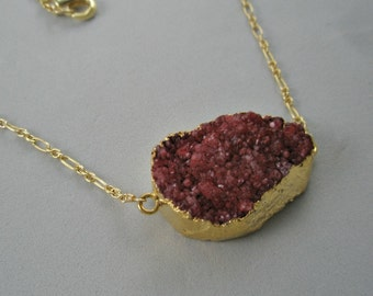 Cranberry Druzy Pendant on Gold Filled Chain