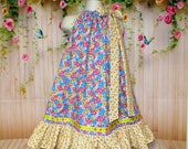 SALE SALE Girls Dress 5/6 Blue Yellow Gold Pink Flower Boutique Pillowcase Dress, Pillow Case Dress, Sundress