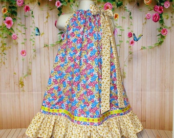 Girls Dress 5/6 Blue Yellow Gold Pink Flower Boutique Pillowcase Dress, Pillow Case Dress, Sundress