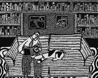 "Library linocut by Coco Berkman from ""Dogs on Sofas"" series"