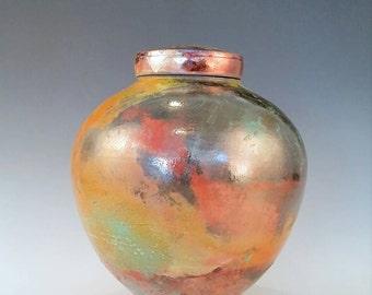Large Copper Ceramic Raku Urn Cremation Urn, Keepsake Urn, Pet Urn