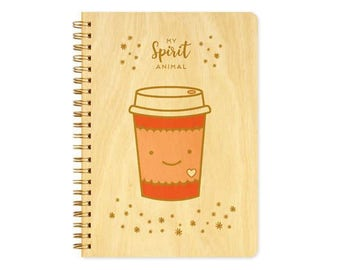 Coffee Spirit Animal Journal - Birch Wood Journal - Real Wood Notebook - Coffee - My Spirit Animal - J1818