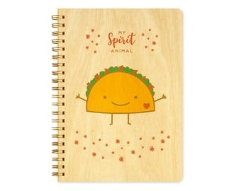Taco Spirit Animal Journal - Birch Wood Journal - Real Wood Notebook - Tacos - My Spirit Animal - J1817