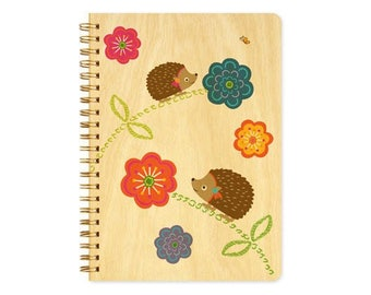 Hazel Hedgehog Journal - Real Birch Wood Notebook - J1724