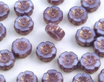 Hibiscus Flowers 12mm Satiny Purple Lavender Luster Czech Glass Beads - 12