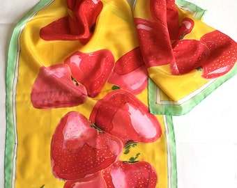 Strawberry silk scarf hand painted. Bright summer scarf in yellow and red/ Fruits scarves/ Unique handmade scarf/ Women accessory