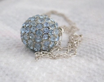 5day Mothers Day 20% SALE Vintage Baby Blue Pave Rhinestone Ball Pendant  Sterling Silver Chain Necklace