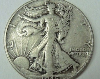 Vintage 1945 Walking Liberty Half Dollar - Vintage Coins - USA Coins - Silver Coins - Collectable Coins - Free Shipping