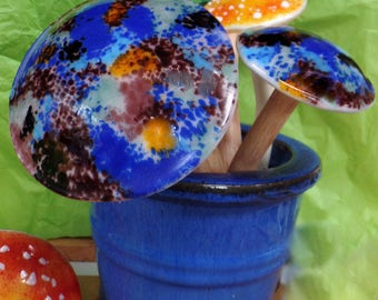 Mushroom, Fused Glass, garden stake, plant stake,window box art, various colors