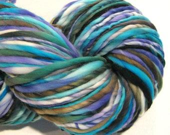Bulky Handspun Yarn, Betta Splendens, 140 yards, hand dyed merino wool, blue violet yarn  waldorf doll hair, knitting supplies,crochet