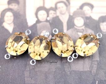 Preciosa Light Colorado Topaz Glass Oval Stones 12x10mm Brass Prong Settings - 2